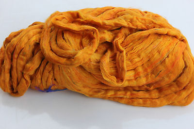 4oz Bag Ready for Spinning Sari Silk Fiber - Carded - Sliver Form - Yellow Color
