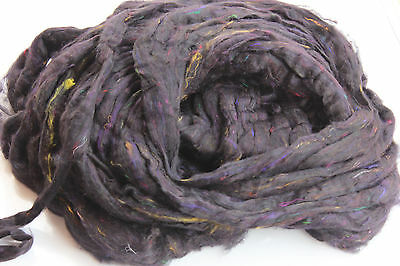 4oz Bag Ready for Spinning Sari Silk Fiber - Carded - Sliver Form - Black Color