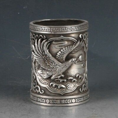 Chinese Silvering Copper Eagle Brush Pot Made During The Da Ming Xuande BT0042