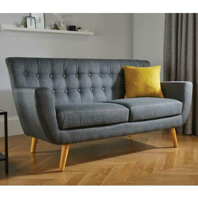 Loft Fabric Upholstered Sofa in Grey Large Three Seater