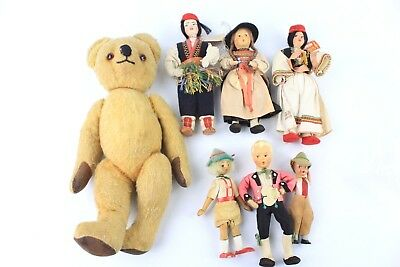 6 x Vintage Dolls and Teddy Bear including brands BAITZ and CROLLY DOLL