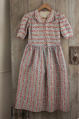 Vintage girl's dress 1940's 1950's blue red printed design old BEAUTIFUL