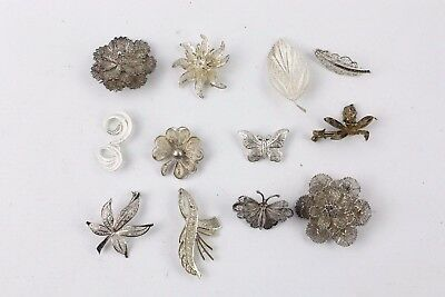 Collection of 12 x .925 STERLING SILVER Costume Brooches MIXED Designs 81g
