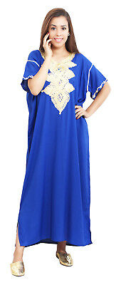 Moroccan Women Caftan Kaftan Long Dress Casual  Abaya Cotton Fits Sm to LG Blue