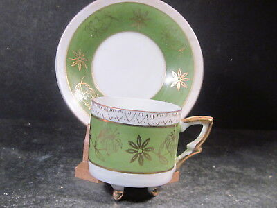 Unknown China Vintage GREEN GOLD & CREAM DEMITASSE FOOTED CUP & SAUCER SET