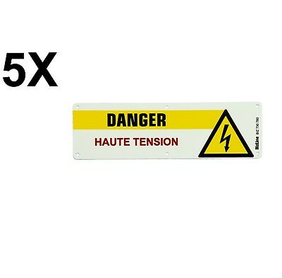 "5X BIZLINE - Plaque PVC "" Danger Haute Tension "" 200 x 60 mm  *NEUF*"