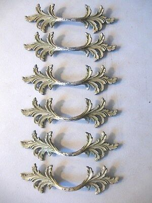 (6)  Vintage Paint Finish French Provincial Drawer Pulls / Handles  - W/ Screws