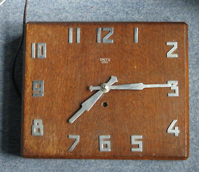 Art Deco Oak And Chrome Smiths Electric Wall Clock