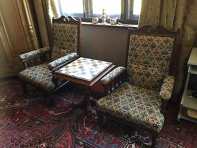Antique His & Hers Stunning Chairs Beautiful Condition Professionally Recovered