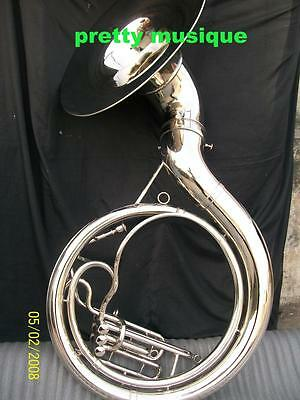 """Sousaphone Big 25"""" Bell,made Of Pure Brass In Silver Chrom + Free Case + Mouthpc"""