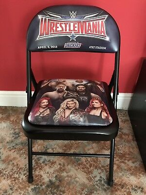 WWE Wrestlemania 32 Ringside PPV Chair RARE - Sat On By Wrestlers Families