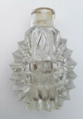 Antique Early Clear Cut Glass Scent Perfume Bottle Xix Century
