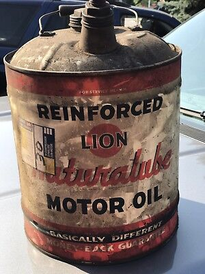 LION Naturalube motor oil 5 gallon can. Nice color, and graphics.