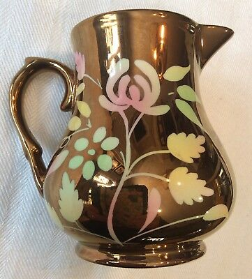 Rare Antique Wade England Copper Gold Lusterware Creamer with Pastel Floral