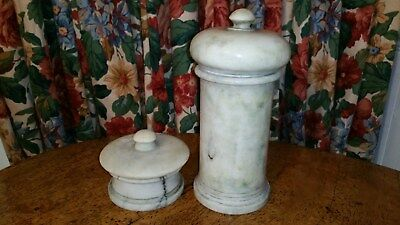 Marble pair of signed jars - Apothecary