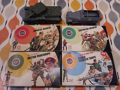 Airfix 1/32nd WW2 infantry (4 boxes: Oz, Japan, German, Brit) and 2 vehicles