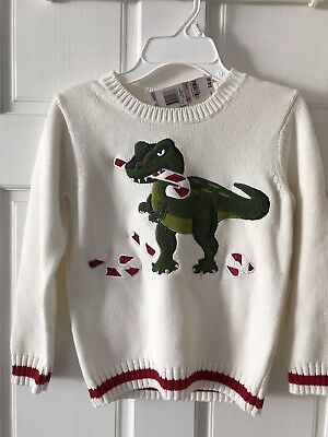 Green Dog Boys 6 Christmas Holiday Dinosaur T-Rex Candy Cane Sweater White NWT