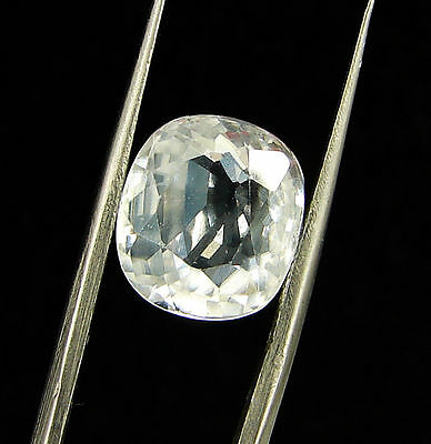 7.75 Ct Certified Natural White Zircon Loose Oval Gemstone Stone Tanzania 118324