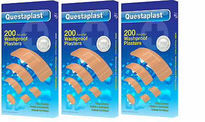 Questaplast 200Pack Washproof Water resistant First Aid Plasters Wound Cuts