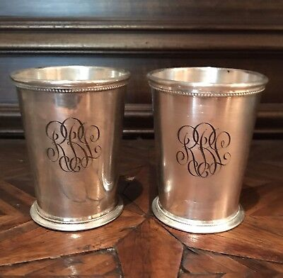 Pair of Silverplate Patrick Henry Monogrammed Mint Julep Cups, England