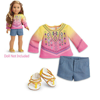 """American Girl LE LEA BAHIA OUTFIT for 18"""" Dolls Lea's Sandals Clothes Beach NEW"""