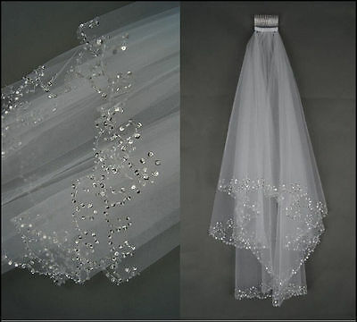 New 2 Layers Beaded Edge Pearl Sequins Bridal Wedding Veil With Comb Ivory  LYG