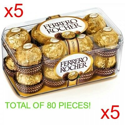 Ferrero Rocher x5 Boxes With 16 Pieces In Each Box 1Kg Total FREE SHIPPING!