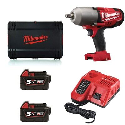 Milwaukee M18CHIWF12-502X High Torque Impact Wrench, x2 5.0Ah Batteries, Rapid C