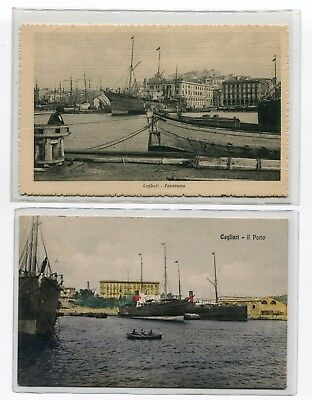 ---QC34 shipping CAGLIARI HARBOUR different ships X 2---