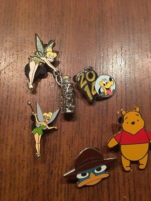 Lot Of ((5)) Collectible Tinkerbell, Pooh, Pluto, And More Pins