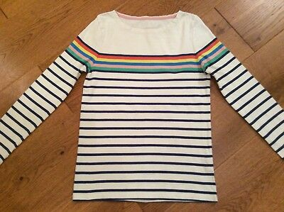 Gorgeous Mini Boden Rainbow Striped Top Age 9-10 Years