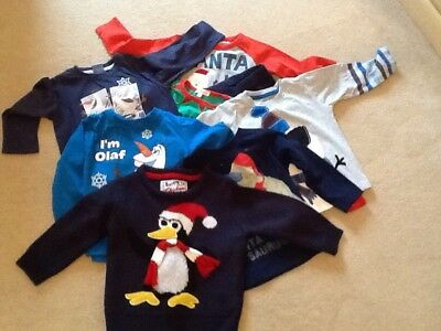 Boy's  Xmas Clothes Bundle - 18-24 Months 5 T- Shirts 1 Jumper 1 Pyjamas VGC