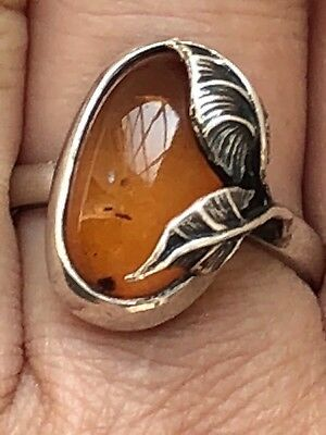 Hallmark 925 Art Nouveau Style Amber Sterling Silver Ring-Uk Q