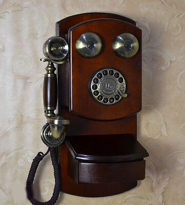 Antique Drawer-Equipped Height 45cm Home Decoration Wall Mounting Dial Phone #