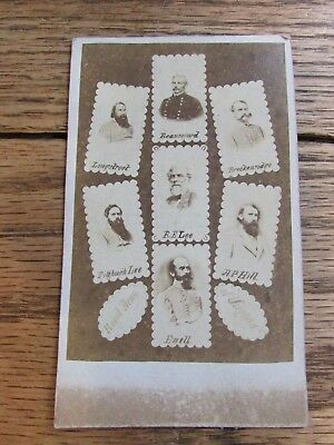 Original Civil War Cdv Of Confederate Generals.longstreet,hill Lee And Others.nr