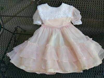 Vintage Baby Girl Pink Lace Ruffle Party Dress Size 6 Layered Organdy