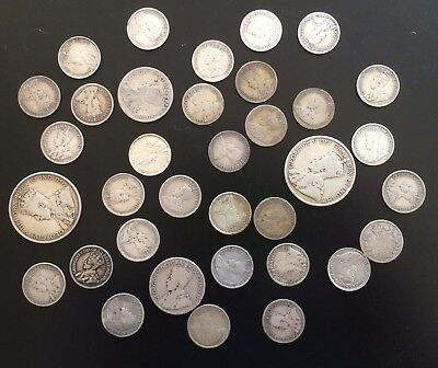 Lot of 92.5% Silver 1912-1919 coin lot. 10, 25, 50 Cents Canada Ten Twenty Five