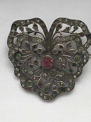 Art Deco Tested Silver Multi Colour Paste Paving Flower Basket Brooch