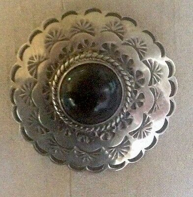 Vintage Hand Made Sterling Silver Taxco Mexico Onyx Pin