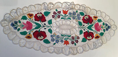 Vintage Kalocsa Hungary Tablecloth Hand Made Lace Embroidery Doily