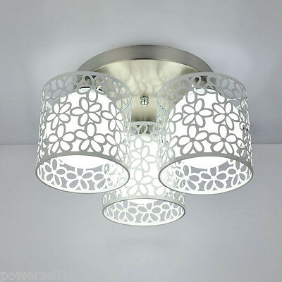 #3 New Simplicity White Round Iron+Glass 3 Bulbs Decorative Ceiling Light