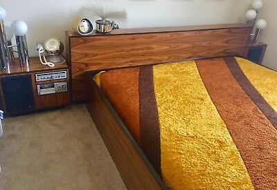 Mid-Century Rosewood(?) King Size Bed with Aiwa Stereo Nightstands