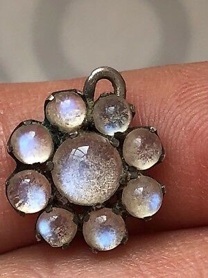 Tested Silver Vibrant Tinted Blue Moonstone Cluster Pendant