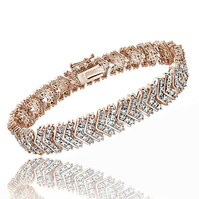 1 Ct Round Cut Natural Diamond 18K Rose Gold Over Chevron Bracelet