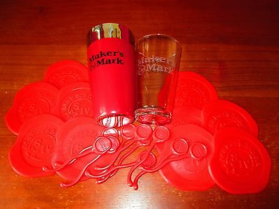 NEW MAKERS MARK Cocktail Shaker with 10 'Melted Wax' Coasters & Stirrers NEW SET