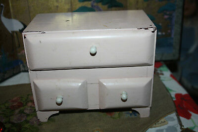 """Small 6"""" Wood Drawer Chest Trinket Jewelry Box Doll House Dresser Pink 3 drawer"""