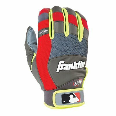 Franklin Sports Adult MLB X-Vent Pro Batting Gloves Gray/Red/Optic Yellow Pair S