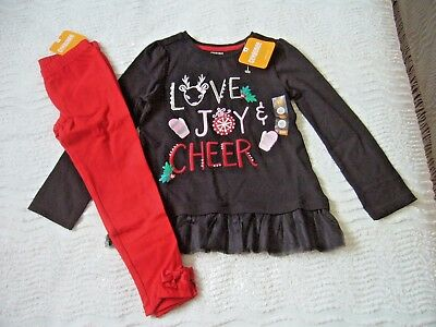 Bnwt Gymboree Set 2 Yrs L/s Black Top Embroidered Detail & Red Stretch Leggings