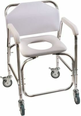 DMI Rolling Shower Transport Chair With Padded Toilet Seat, White