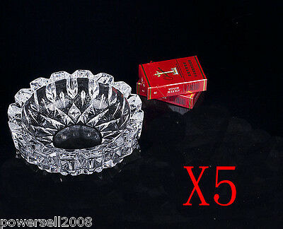 5X Large Elegant Transparent Shiny Crystal Glass Household Hotel Use Ashtray NN